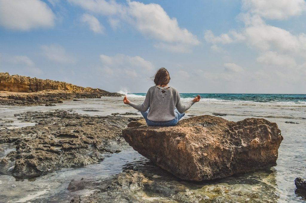 girl, meditation, nature